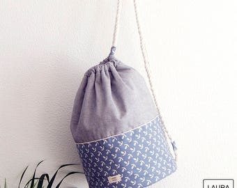 Large beach bag in cotton with waterproof lining. Anchors + blue/anchovies maxi shoulder beach bag with rope strap & waterproof Interior