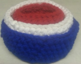 3 Crochet Bowl set Red White Blue Free Shipping