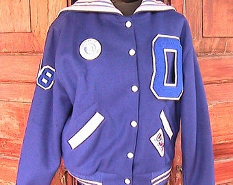 Size 38 1980s Blue and White Cheerleaders Varsity Jacket