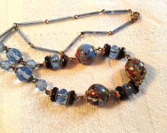 Art Deco Czech Glass Bead Necklace. Blue Splatter Glass.