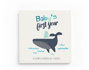 Nautical Baby Book- Gender Neutral Baby Book- Baby's First Year- Baby Memory Book- Baby Journal