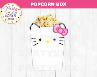 Hello Kitty Party Printable Popcorn / Favor Box Instant Download