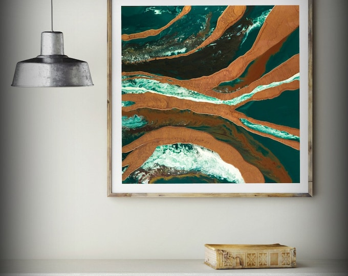 ABSTRACT OIL PAINTING, Green Print Art Modern Art on Canvas, Green Contemporary Art Abstract Art Wall Hanging Home Decor Wall Art Gallery