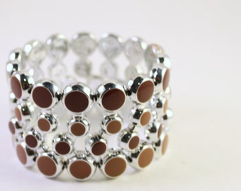 Silver Plated & Brown Epoxy Acrylic Beaded Bracelet, Double Strand, Wholesale Bead Supplies