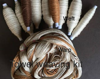 Beginner Weaving Kit, Beige Towels, Weaving Loom Kit, DIY Weaving Kit, How to Weave Kit, DIY Weaving Kit, Loom Weaving, Pre-wound Warp