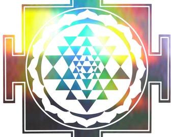 Sri Yantra Square Vinyl Decal   Laptop or Wall   Mandala Sacred Geometry   Geometric Yoga   Rainbow Holographic Sticker