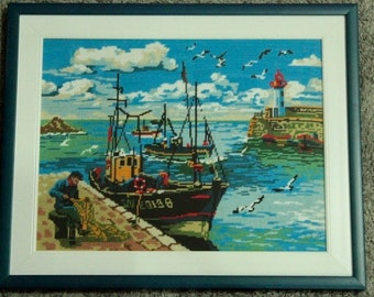 Fishing boat with cross-stitch framed/Fishing