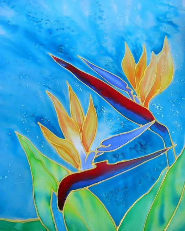 Bird Of Paradise Art, Tropical Flower Paintings, Silk