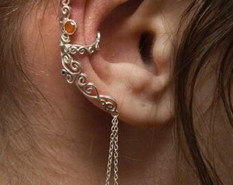 Cornaline&Garnet drops Ear Ring (cuff)