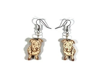 Pitbull earrings dog wood wooden gift for her, jewelry pitti