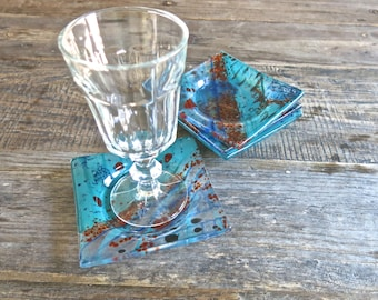 Hand Painted Fused Glass Coaster Set of Four, Snack Plates, Candle Holder