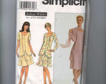 1990s Vintage Misses Sewing Pattern 8611 Two Piece Dress and Scarf Tiered Skirt Jacket Size 18 20 22 UNCUT