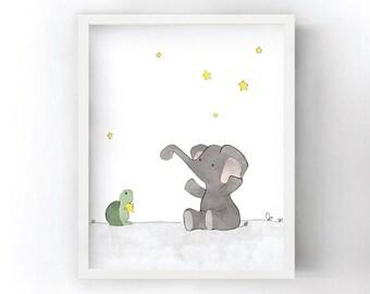Elephant Nursery Decor - Elephant and Stars Kids Wall Art, Turtle Nursery Art Print, Baby Room Art
