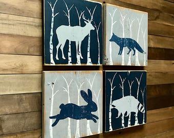 Woodland Nursery Art - Fox Nursery Art -Animal Nursery Decor - Woodland Animal Decor - Rustic Nursery Decor  - Woodland Nursery Decor