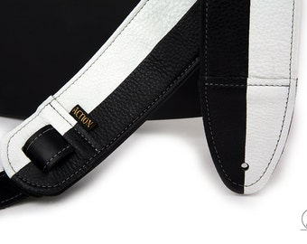 Black and White Leather Guitar Strap - Half Note