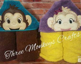 Monkey Hooded Towel - Personalized Hooded Bath Towel - Personalized Beach Towel - Baby Gift - Easter Gift - Monkey Gifts - New Baby Gift