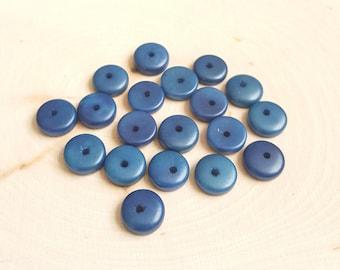 Tagua nut rondelle beads 11-12mm blue, vegetable ivory tagua nut 11-12mm rondelle beads.