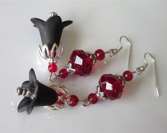 Goth Wedding Earrings, Blood Red Glass, Black Lucite Flower, Goth Chandelier, Red and Black, Flower