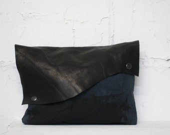 085 Black Clutch Handbags , Printed Pouch , Edgy Clutch,