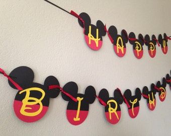 Mickey Mouse Birthday, Mickey Mouse Birthday Decoration, Mickey Mouse Party Decorations, Mickey Mouse Banner, Mickey Mouse Ears