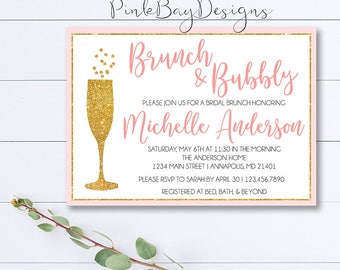 Brunch And Bubbly Invitation, Bridal Brunch Invitation, Gold Bridal Shower Invitation, Pink and Gold Invitation, Brunch Bridal Shower