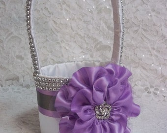 White Flower Girl Basket, Flower Girl Basket in white with Lilac Purple Flower, Grey Trim and Rhinestone Mesh handle and Trim, Orchid Basket