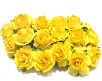 Two Tone Golden Yellow Tattered Mulberry Paper Roses Tr022