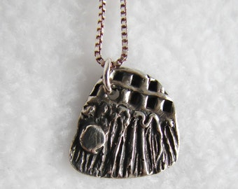 Necklace, Fine silver pendant, with sterling silver chain. Silver Sporran by melanie j cook