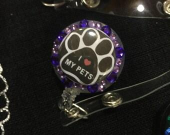 I love my dog. I love my cat. I love my pets. Id badge holder