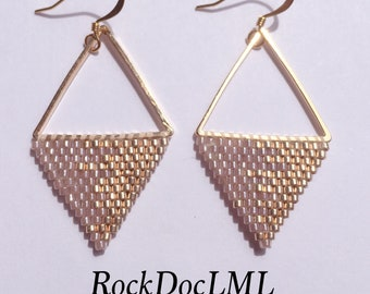 Pink and Champagne, Triangle Delica Bead Earrings
