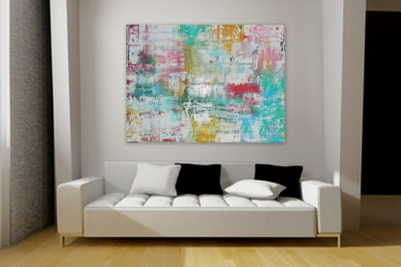 Huge Large original modern acrylic abstract painting wall art home decore chic turquoise pink yellow  gold blue custom order original canvas