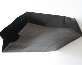Set of 25 - Solid Black Flat Bottom Paper Merchandise or Lunch Bags - 4.25 x 2.375 x 8.18 Inches - Gifts, Packaging, Retail