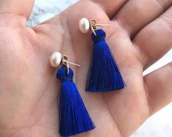 Sorority gift, sisterhood earrings, Sorority Present, Pearl Earrings, tassel jewelry, boho flair, tassel earring, navy earrings