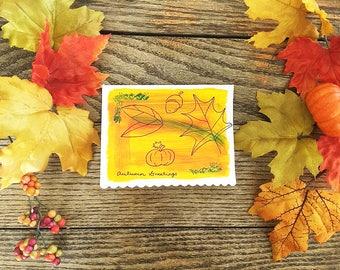 Fall season card etsy autumn greetings handpainted fall season blank greeting card fall seasonal greeting card m4hsunfo
