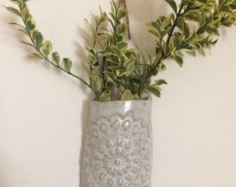 Hanging wall vase with doliy mandala bud vase ceramic wall planter