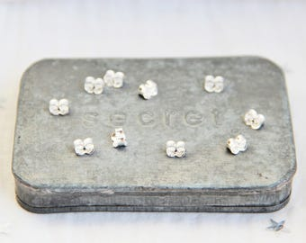 Set of 10 Stoppers/corks butterflies for 3 x 5.7 mm 925 Sterling Silver earrings / 1000.