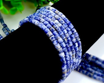 45Pcs - 4x4mm Blue stone Beads, Tube Beads, Genuine Natural Stone beads