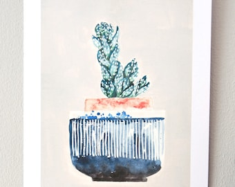 Plant on my window sill no. 1 // print, watercolor