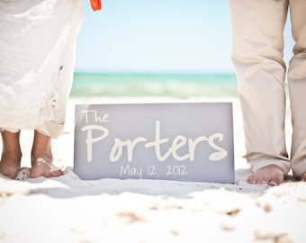 Custom Last Name Sign, Wedding Date, Beach Wedding, Just Married.  Personalized for Your Wedding or Event.  10 X 18 Inches.