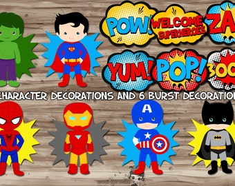 Superhero Party Decorations, Superhero Pop Art, Superhero Party Supplies, Superhero Party Printables - Digital PDF Files, INSTANT DOWNLOAD