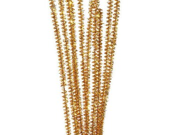 """100, 6mm, Gold Tinsel Chenille Stems, Pipe Cleaners, 12"""" Long"""