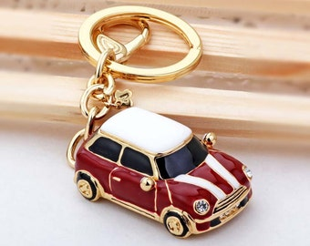 red mini cooper car,drop of oil plus diamond luxury car keychain, silver keychain,perfect gift for you or friends