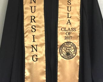 CSULA Graduation stole Nursing includes school Seal Crest Class of year