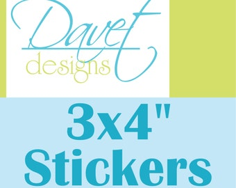 228 3x4 inch Custom Glossy Waterproof Stickers Labels Seals for your business/ event - any size/ shape available