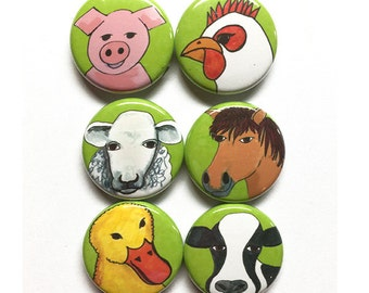 Farm Animal Magnets or Pins - Cow, Pig, Sheep, Rooster, Duck, Horse magnet set, pinback button, 1 inch