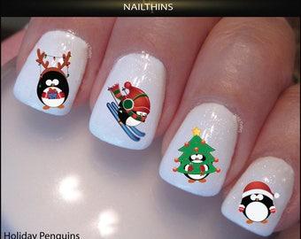 Holiday Penguin Nail Decal Christmas Tree Skiing Reindeer nail art  by NAILTHINS
