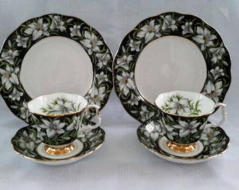 Two Trios Teacup, Saucer and Dessert Plate, Royal Albert Provincial Flowers Series, Madonna Lily, England