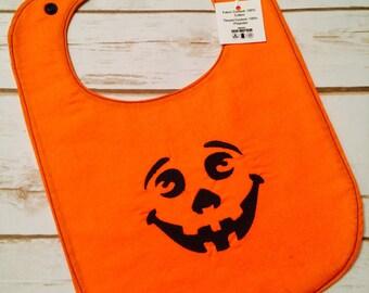 Halloween Baby Bib, Holiday Baby Bib, Pumpkin Baby Bib, Jack O Lantern Baby Bib, Embroidered Baby Bib, Fall baby item, Shows Front and Back