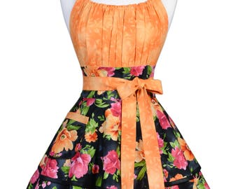Flirty Chic Pinup Apron - Tropical Paradise Orange Pink Hibiscus Floral Apron - Womens Sexy Cute Retro Kitchen Apron with Pocket