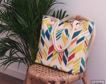 Beach bag, holiday bag, pool bag, 100% cotton multi-colored rhombus, with lining and inner pocket